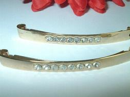 PAIR MADE IN FRANCE RHINESTONE GOLDEN HAIR BARRETTE CLIPS IN