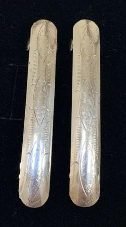 Pair Navajo Sterling Silver 3 inch Hair Clip Barrettes By Iy