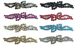 Bella Pair of Barrettes Med/Small Sparkly Crystal Hair Clips