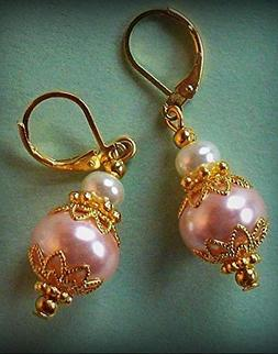 Pale Peach White Glass Pearl Earring Gp Leverback Handcrafte