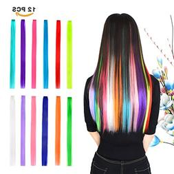 12 Pieces Party Highlights Clip in Colored Hair Extensions f