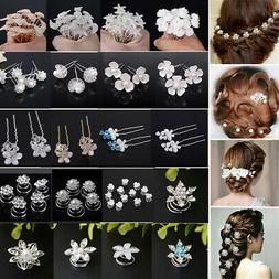 Pearl Flower Crystal Hair Pins Clips Bridesmaid Comb Wedding