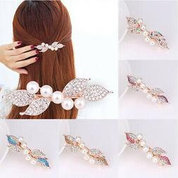 Pearl Flower Rhinestone Spring Clip Hair Accessories Hand In