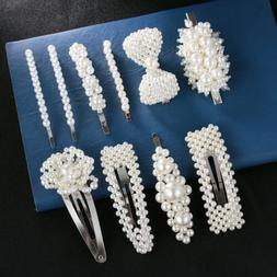 Pearl Hair Clip for Women Elegant Korean Snap Barrette Stick