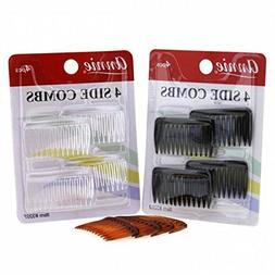 *PICK* 4pc Side Combs Small Clear Black Tortoise Brown CLIP