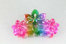 pink rainbow hair clip claw butterfly clamp