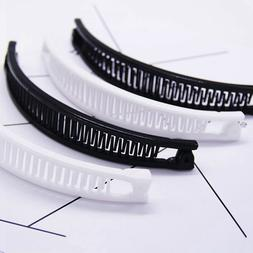 Plain Banana Shape Ponytail Holder Black/White Clip Hairpin