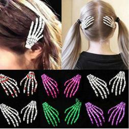 Punk Skeleton Claw Hand Bone Hair Clip Pin Grip Slide Zombie