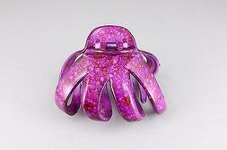 Purple octopus hair clip big barrette plastic claw clamp acc