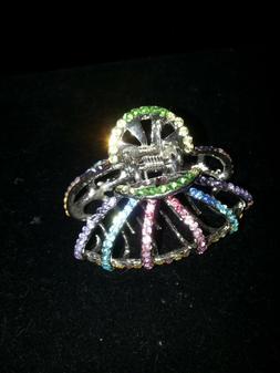 Rainbow Crystal Rhinestone Hair Clip, Claw Hair Clip