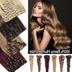 Real 8PCS Clip in 100% Real Remy Human Hair Extensions Full