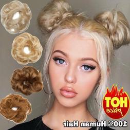 Real Clip in 100% Human Hair Piece Messy Bun Scrunchie Hair