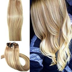 Real Human Hair Extensions Blonde 20 inches 70g Clip on for