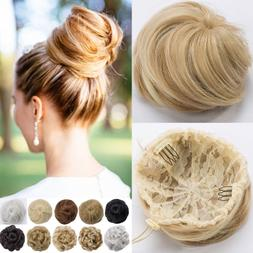 Real Natural as human Clip on/in Messy Hair Bun Extension Ch