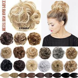 Real Natural Messy Hair Scrunchie Clip on Bun Ponytail Updo