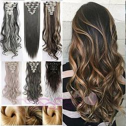Real Natural New Clip in Hair Extensions 8 Pieces Full Head