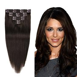 """Remy Human Hair Extensions Clip In Dark Brown 14"""" 8pcs 92g S"""