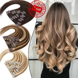 Real Remy Clip In 100% Russian Human Hair Extensions 8 Piece