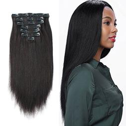 AmazingBeauty 8A Grade Real Remy Thick Yaki Straight Clip In