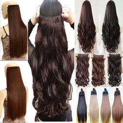 Real Thick AS Human Hair 1Piece Full Head Clip In Hair Exten