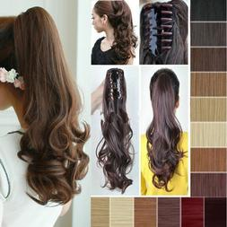 Real Thick Clip In Pony Tail Hair Extensions Claw Clip On Po