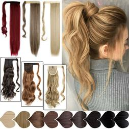 Real Thick Clip In Pony Tail Hair Extensions Wrap Clip On Po