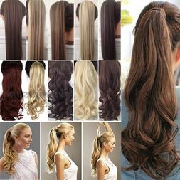 Real Thick Clip in Ponytils Hair Extensions Blonde Brown Pon