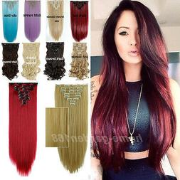 Real Thick Full Head Clip in Hair Extensions Extentions 18Cl