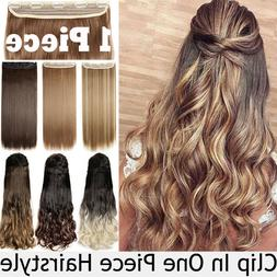 Real Thick Natural Clip in 3/4 Full Head Hair Extensions Ext