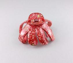 Red octopus hair clip big barrette plastic claw clamp access