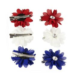 Lux Accessories Red White and Blue Americana Flower Hair Cli