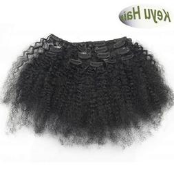 Remy Afro Kinky Curly Clip in 100% Human Hair Weft Extension