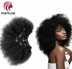 Remy Afro Kinky Curly Clip in Human Hair Weft Weave Extensio