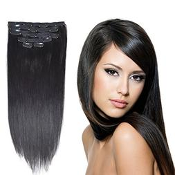 """14"""" Remy Human Hair Clip in Extensions for Women Off Black 6"""