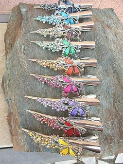 Rhinestone Butterfly Hair Claw Clip Alligator Meta Clamp Col