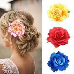 Rose Flower Bridal Hairpin Hair Clip Brooch Wedding Bridesma