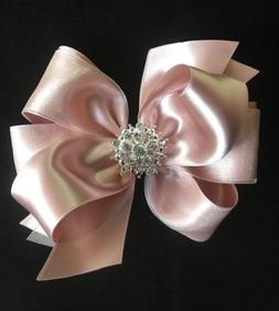 ROSE GOLD satin organza hair bow flower girl BIG rhinestone