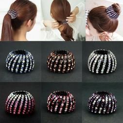 Round Crystal Rhinestone Claw Hair Clip Clamp Unique Ponytai