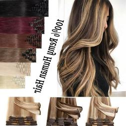 Russian Remy Hair Clip In Hair Extensions Skin Weft Highligh