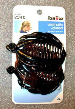 scunci Banana Fish Hair Claw Clip Clamp 3 Pc Tortoise & Blac