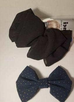 Scunci Double Bow Barrette Hair Clip Accessory Black and bon