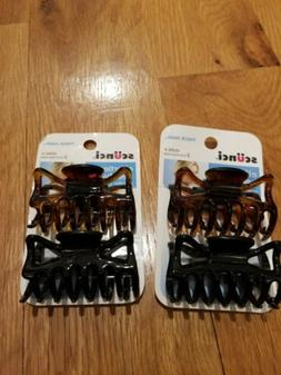 SCUNCI effortless beauty HAIR CLAW CLIPS thick hair 2 brown