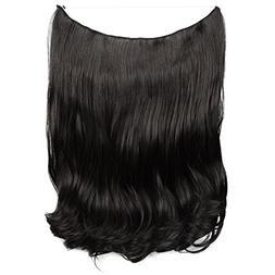 FESHFEN 20 inch Secret Halo Hair Extensions Flip in Curly Wa