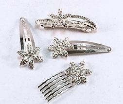 4 Pieces Set Clear Crystal Leaf Design Sliver Color Metal Ha