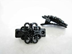 Set of 2 extra tiny small black filigree metal alligator hai