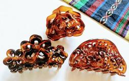 Set of 3 Large 3 inch Jaw/Claw Clips Floral ~assorted styles