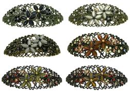 Bella Set of 3 Large Oval Barrettes Hair Clips, Catseyes/Cry