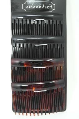 Set of 4, 2 Black / 2 Brown Plastic Side Hair Comb Hair Clip