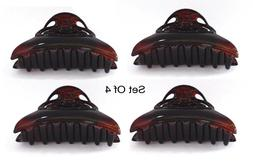 SET OF 4 Hair Claw Clip Made In France Celluloid Tortoise Ha