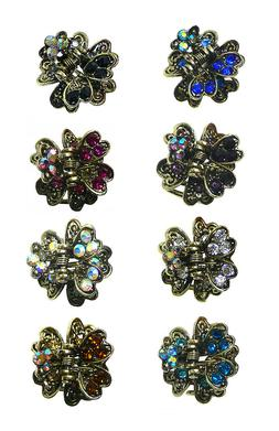 Bella Set of 8 Mini Metal Jaw Clips Tiny Sparkly Hair Claw C